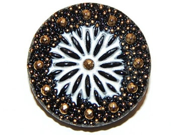 Czech Glass Button; 27mm, Black and White with Gold