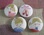 Fabric covered button - 1 1/8 inch sew on buttons - Pink and Blue Ballerina  - set of  4