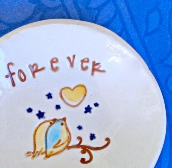Personalized Ring Bowl, Love Birds Forever, Ceramic Ring Dish, Ring Holder, Trinket Bowl, Wedding Ring Dish, Gift Dish, Wedding Gift