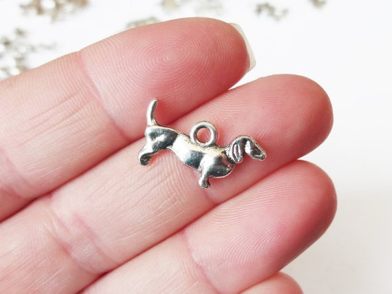 10 Dachshund Dog Puppy Charms (double sided puffed) 11x19mm Item:D8