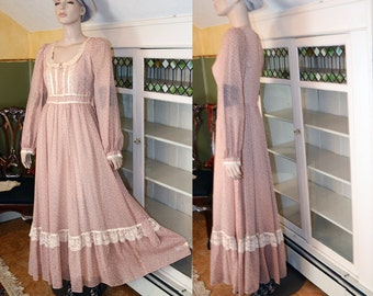 vintage 60s 70s gunne sax maxi dress prom prairie ditsy floral boho hippie festival muted battenburg lace corset lacing INCLUDES US SHIPPING