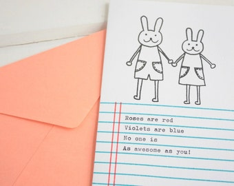 Bunnies on Exercise Book Lines Card