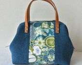 Mini Boston bag, canvas cotton patchwork - Flower and blue