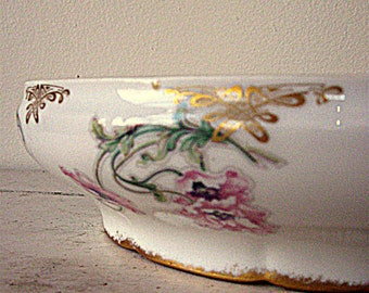 Theodore Haviland Limoges France Casserole Floral Gold Trim