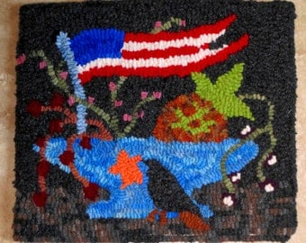 OLD GLORY Primitive Hooked Rug from Quilts by Elena Wool Original Design