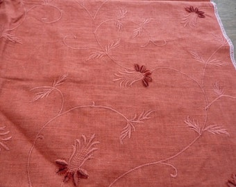 Embroidered Rust Linen Fabric with Chenille Tufts - Floral Embroidery Design Home Decor Upholstery Sample - Woven Weave Flower - Solid Color