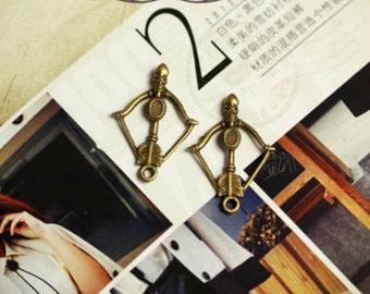 5pcs 25x35mm antique bronze bow & arrow charms pendants (J452)