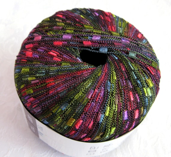 Ribbon Yarn : Berlini Ladder Ribbon Yarn, Rainbow jewel tones of blues green mauve ...