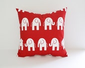 Elephant Pillow Cover Red Pillow Nursery Pillow Childrens Pillow Cushion Cover Slipcover