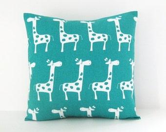 Nursery Pillow Cover Turquoise Pillow Giraffe Pillow Decorative Pillow Size Choice