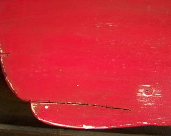 HUGE Wooden Whale Distressed 47 Inches in Nautical Red Coastal and Nautical Decor, Made to Order