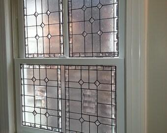 """Stained glass 3-piece window - """"Elegant Privacy"""" (W-49)"""