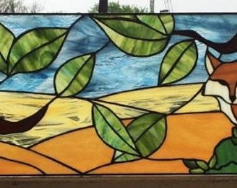 """Stained glass Transom - """"Wild Fox"""" (TW-44)"""