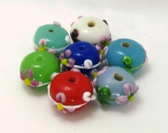 Floral Seven Assortment - Set of Seven Lampwork Roundelle Beads