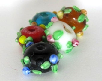 SALE - Floral Five Assortment - Set of Five Lampwork Roundelle Beads