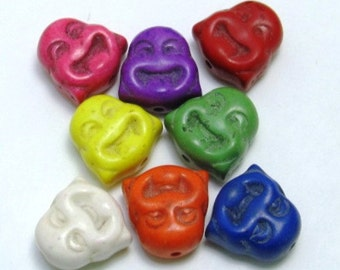 Set of 3 - Large Howlite Happy Buddha Head Beads
