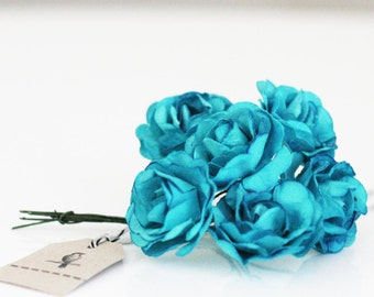 Wholesale 72 turquoise paper flowers