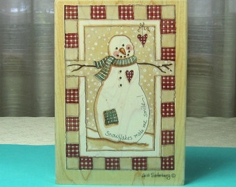 Christmas Snowman Rubber Stamp
