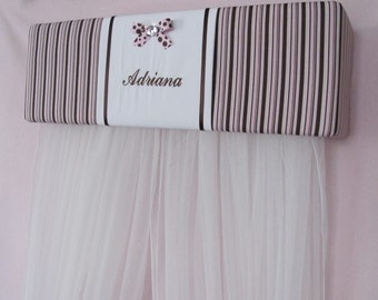 Embroidered Personalized FREE SaLe Crib Canopy Bed Crown Princess Pink Brown Stripe