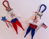 POODLE July 4th PATRIOTIC vintage style chenille ORNAMENTS feather tree set of 2