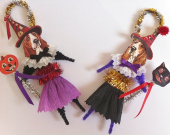 Basset Hound HALLOWEEN WITCH vintage style chenille ORNAMENTS set of 2 feather tree