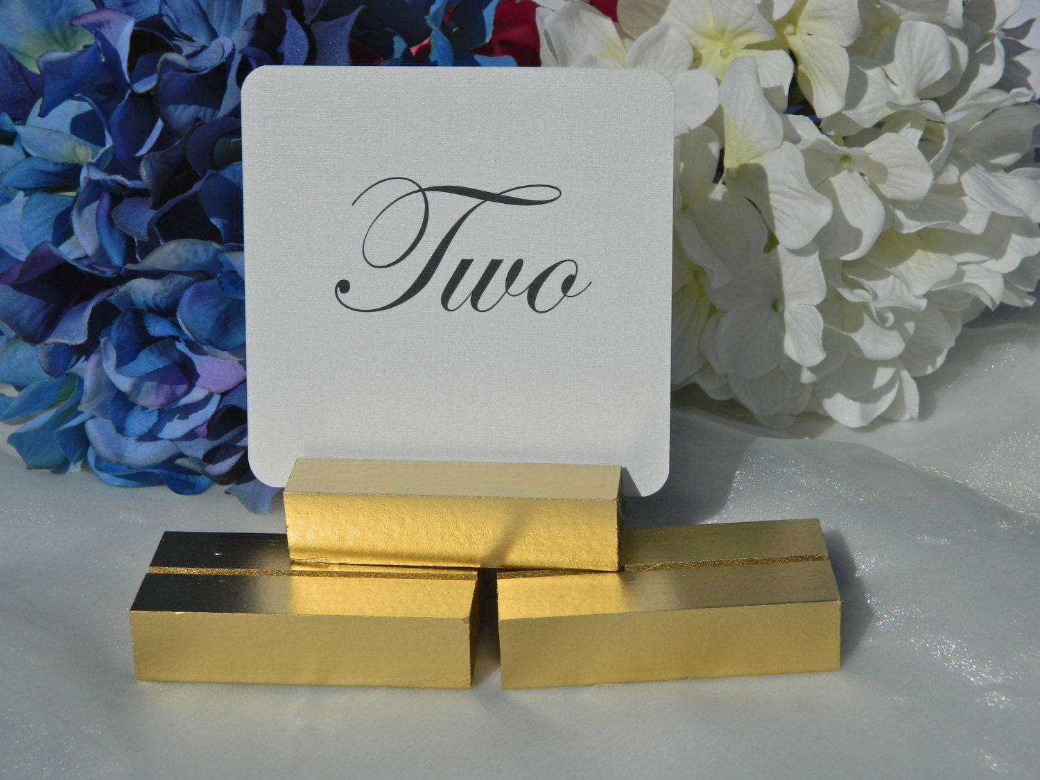 Sale gold wood wedding sign holder table number by gallery360 for Table number holders