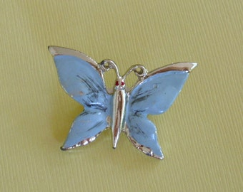 Vintage Baby Blue Butterfly Brooch