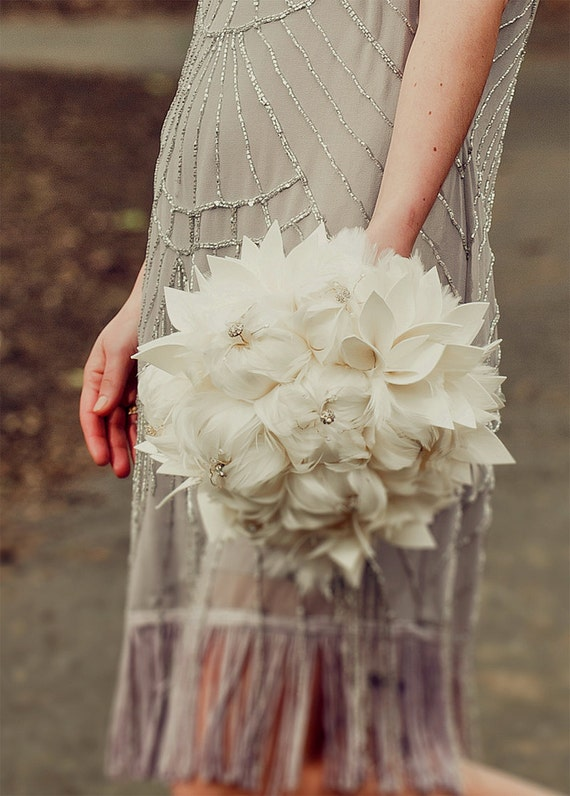 Bridal bouquet -MADE to ORDER - large feather wedding bouquet . Rhinestone and crystal accents - COLETTE