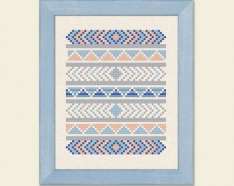 Lovely Tribal Modern Simple Pretty Counted Cross Stitch Pattern. PDF File. Instant Download