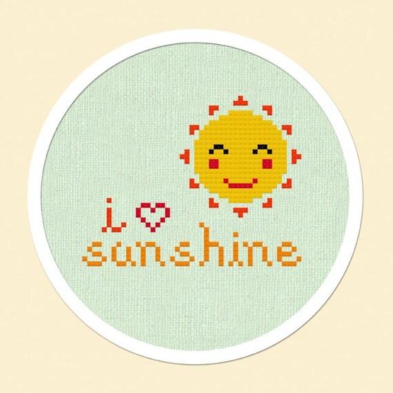 Sunshine Love. Sun Cross Stitch PDF Pattern