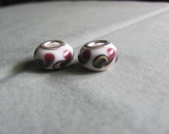 White/Brown Swirl Lampwork Glass European Bead, 14x10 mm rondelle