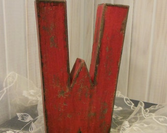 Paper Mache Letter W ~ Fire Engine Red and Distressed ~ with Black Accents   Nice Aged Look