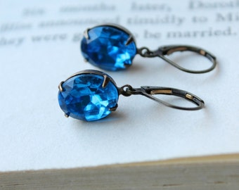 Bright Ocean Blue, Hollywood Glam Earrings, Vintage Glass Jewels, Deep Blue, Sparkle