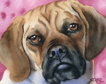PUGGLE Dog Art Print From an Original Watercolor Painting Signed by Artist D J Rogers