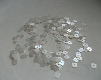 7 g of 4 mm Flat Square Sequins in Satin Vanilla Pearl Color