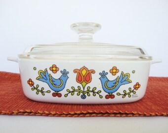vintage corning ware casserole blue birds country festival pattern