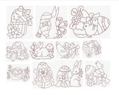 Instant Download  Machine Embroidery Designs Bluework Easter Set of 11 Size 4x4