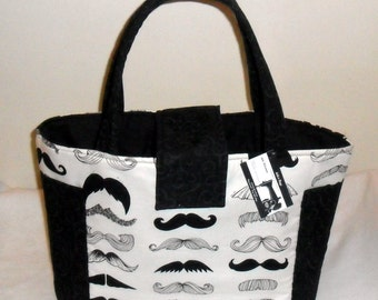 Large Where's My Stache Mustache Diaper Bag Tote NEW PRINT