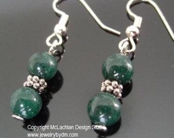 Mountain Jade and Silver Dangle Earrings