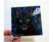 "BOO HALLOWEEN  Black Cat oil painting , 4"" X 4"" amber eyed kitty with White mouse after dark , starry night sky - MyMaineVintage"
