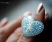 Glitter Jewelry, Ring - Something Blue - Fine Blue Sparkle Handcrafted Modern Jewelry - heart shaped love ring, Resin Jewellery by isewcute
