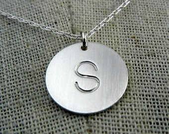 Silver Initial Necklace | Silver Letter Necklace | Simple Silver Charm | Stamped Letter Charm | Silver Letter Charm | DOT E Ria Designs
