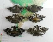 SALE! 6 vintage curvy brass metal pull handles