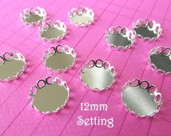 100 Silver Plated  Cabochon Setting  12mm  Scallop Edge Laced Ring Charms