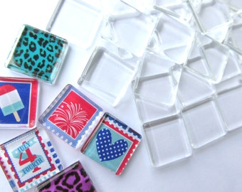 100 Clear THIN Squares 15mm Glass Tiles for Wine Charms Pendants Magnets Rings Supplies 3mm thick