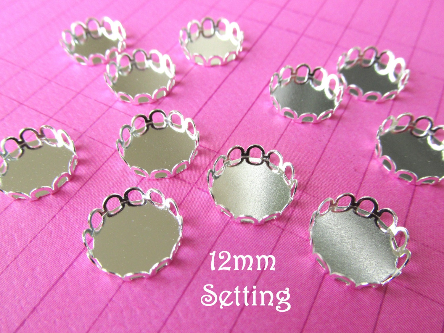 20 Silver Plated Brass Cabochon Setting 12mm Scallop Edge