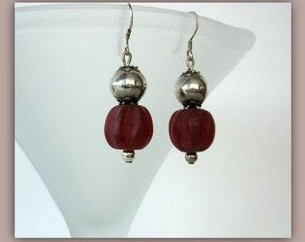 Earrings-Resin-Bali silver-Velvet Barrels
