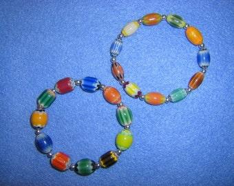 Colorful Chevron glass beaded stretch bracelet, handmade rainbow bracelet