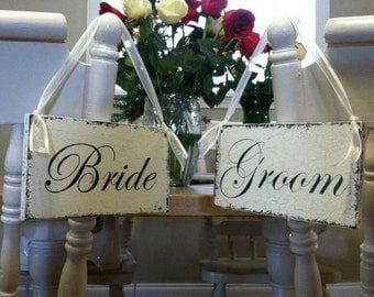 BRIDE and GROOM | Wedding Chair Signs | Hand Painted | No Vinyl | 9 x 5 Set of 2