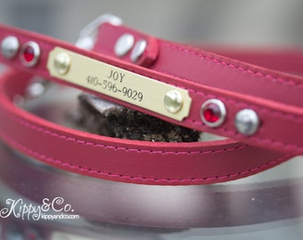 Red Leather Dog Leash, Red Leather Crystal Leash, Personalized Dog Leash, Leather Leash